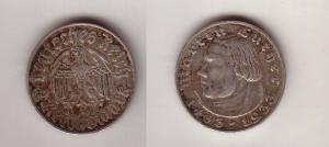 2 Mark Silber Münze 3.Reich Martin Luther 1933 A (112897)