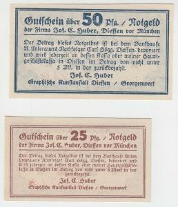 25 & 50 Pfennig Banknoten Notgeld Firma Jos.C.Huber Diessen um 1921 (108126)