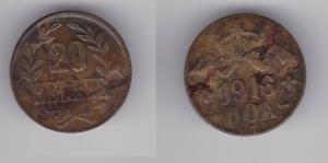 20 Heller Messing Münze Deutsch Ostafrika DOA 1916 J.724 b  (119831)