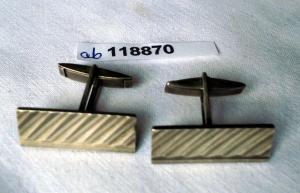 Hübsche Manschettenknöpfe 835er Silber mit schrägen Streifen um 1930 (118870)