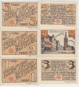 6 Banknoten Notgeld Stadt Dorsten in Westfalen um 1922