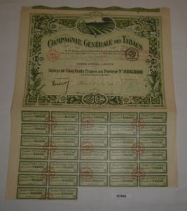 500 Franc Aktie Compagnie Générale des Tabacs Paris 16. August 1921 (127832)