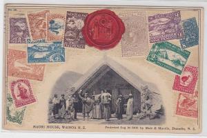 87337 Briefmarken Präge Ak Maori House Wairoa Neuseeland 1913