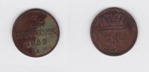3 Pfennige Kupfer Münze Mecklenburg Schwerin 1853 A (119327)