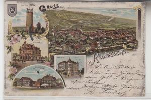 71562 Ak Lithografie Gruss aus Künzelsau mit Wart-Turm usw. 1905