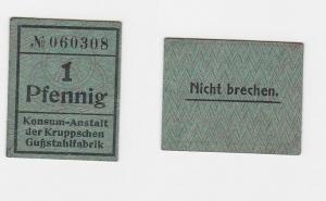 Banknote 1 Pfennig o. D. Konsum Anstalt der Kruppschen Gußstahlfabrik (122184)