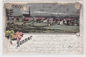 90370 Lithografie AK Gruss aus Kammer - Ortsansicht bei Nacht 1904
