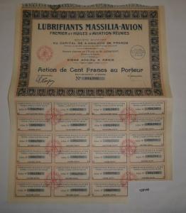 100 Franc Aktie Lubrifiants Massilia-Avion Fremier et Huiles d'Aviation (128140)