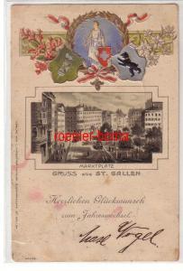 79437 geprägte Ak mit Wappen Neujahr Gruss aus St. Gallen Marktplatz 1899