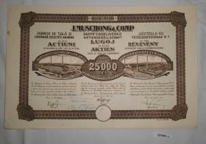 1000 Lei 25 Aktien J. Muschong & Comp Dampfziegelwerke AG Lugoj 1925 (127045)