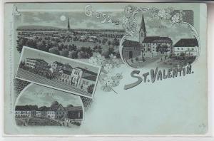 72381 Mondscheinkarte Gruss aus St.Valentin Bahnhof, Kirche usw. um 1900