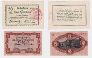 50 Pfennig & 5 Mark Banknoten Stadt Zweibrücken 1917/1918 (121275)