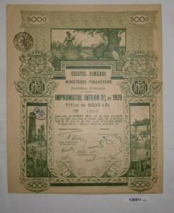 5000 Lei Aktie Regatul Romaniei Ministerul Finantelor Datoria Publica (126911)