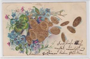 89735 Glückwunsch AK vierblättriges Kleeblatt, Blüten & goldene Pfennige 1905