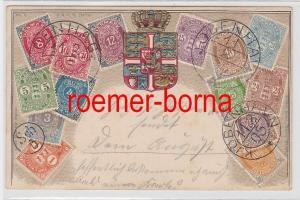 85891 Präge Ak mit Briefmarken von Dänemark 1905
