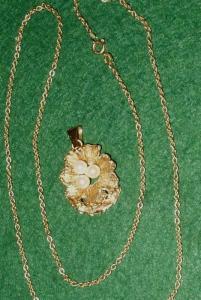 Reizvoller alter Gold Anhänger mit Perlen + Kette (DI2604)
