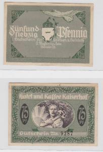 75 Pfennig Banknote Münster Hotel und Kaffee