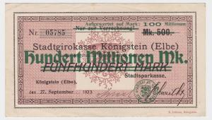 100 Millionen Mark Banknote Stadtgirokasse Königstein Elbe 27.9.1923 (121412)