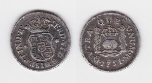 Seltene 1/2 Real Silber Münze Mexiko Mexico 1751 (105710)