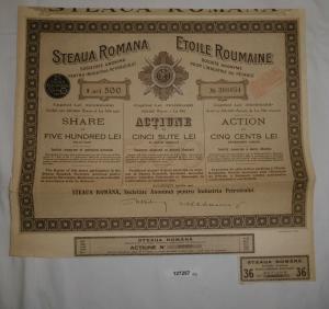 500 Lei Aktie Etoile Roumaine Société pour l'Industrie du Pétrole 1921 (127257)
