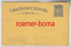 75777 seltene Ganzsachen Antwort Postkarte Chile 2 Centavos blau gelb 1884/1888