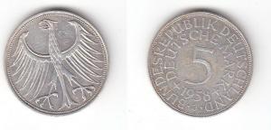 5 Mark Silbermünze Kursmünze BRD 1958 J Jäger 387 (119047)