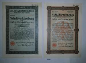12,50 Mark Aktie Reichsschuldenverwaltung Berlin 25.September 1925 (131465)