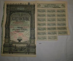 5000 Lei Aktie Societatea Nationala de Gaz Metan 1937 (126928)