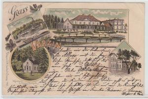 71301 Ak Lithografie Gruss aus Varzin, Papierfabrik usw., 1899