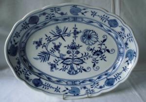 Meissen Porzellan Zwiebelmuster schöne große Beilagenplatte 36 cm (110141)
