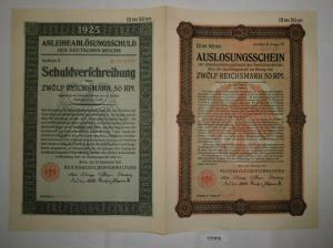 12,50 Mark Aktie Reichsschuldenverwaltung Berlin 25.September 1925 (131910)