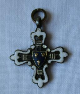 Seltenes emailliertes Kreuz Frankreich 3 Lilien Gold um 1900 Miniatur (124769)