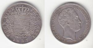 1 Taler Silber Münze Sachsen Friedrich August   (111576)
