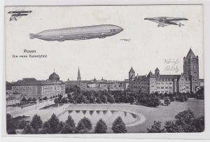 86308 AK Posen - Die neue Kaiserpfalz darüber Flieger und Zeppelin um 1910