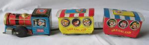 Altes mechanisches Blechspielzeug Zug Dreamland Mad in Japan um 1960 (112793)