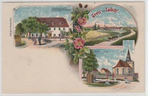 70114 Ak Lithografie Gruss aus Calbitz Gasthof zum drei Lilien usw. 1908