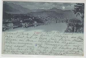 64084 Mondscheinkarte Lugano Totalansicht 1898