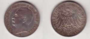 3 Mark Silber Münze Baden Großherzog Friedrich II 1911 G (114252)