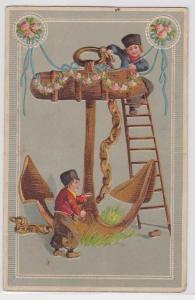 91305 Künstler AK 2 Arbeiter mit Leiter an einem geschmücktem Anker 1911
