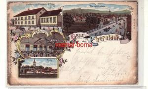 78365 Ak Lithografie Gruss aus Eberstadt Gasthaus zur Eisenbahn usw. 1899