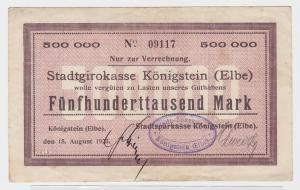 500000 Mark Banknote Stadtgirokasse Königstein Elbe 15.8.1923 (121495)