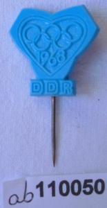 Blaue DDR Anstecknadel Olympische Spiele Olympiade 1968 (110050)
