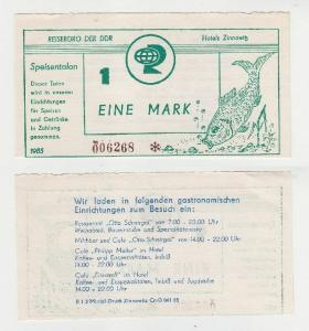 1 Mark Banknote DDR Reisebüro Speisentalon Hotels Zinnowitz 1985 (116309)