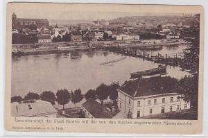 81808 AK Gesamtansicht der Stadt Kowno mit der abgebrannten Njemenbrücke 1918