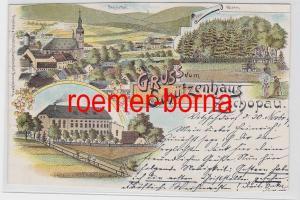 81652 Ak Lithografie Gruss vom Schützenhaus Zschopau 1899
