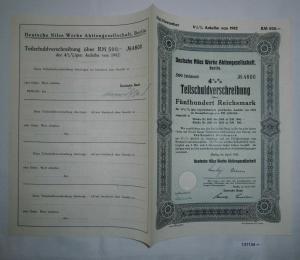 500 Mark Aktie Deutsche Niles Werke Berlin Februar 1934 (132381)