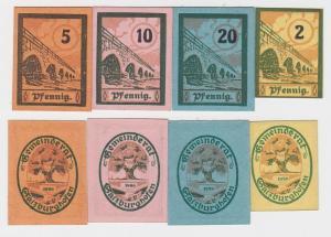 2,5,10 & 20 Pfennig Banknoten Notgeld Gemeinderat Salzburghofen 1920 (123706)