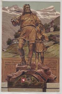 91270 Präge AK Telldenkmal Monument Tell, Kind an der Hand von Wilhelm Tell 1910