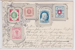 88429 Ak Lithographie mit seltenen Briefmarken als Motiv 1905