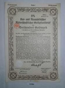 300 Reichsmark Aktie Kur & Neumärk. Ritterschaftlicher Goldpfandbrief (131904)